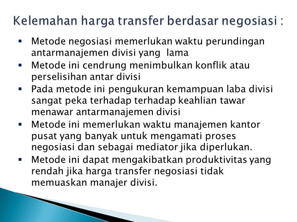 Kelemahan harga transfer berdasar negosiasi :