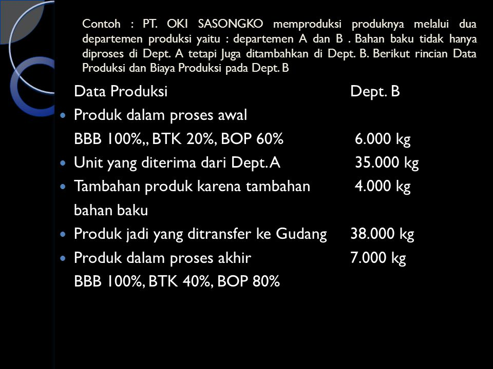 Produk dalam proses awal BBB 100%,, BTK 20%, BOP 60% 6.000 kg