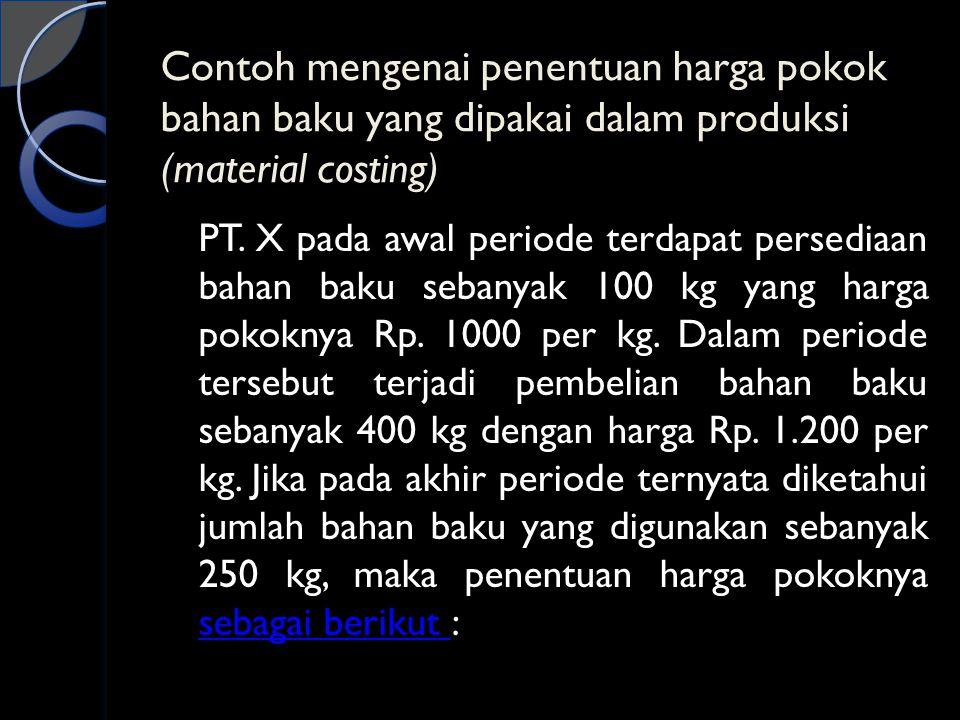 Contoh mengenai penentuan harga pokok bahan baku yang dipakai dalam produksi (material costing)
