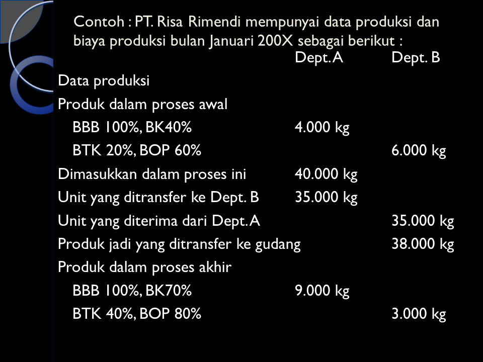 Contoh : PT. Risa Rimendi mempunyai data produksi dan biaya produksi bulan Januari 200X sebagai berikut :