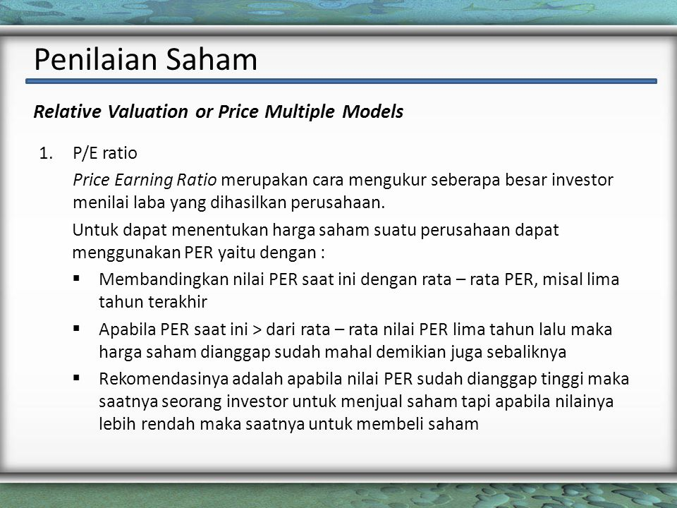 Relative Valuation or Price Multiple Models