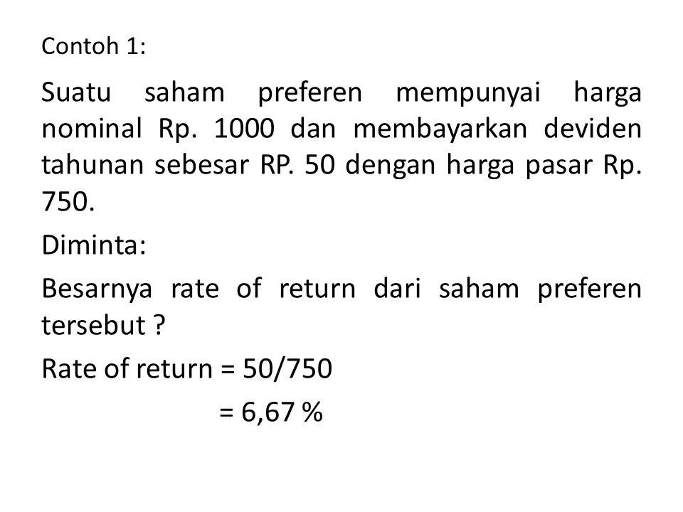 Besarnya rate of return dari saham preferen tersebut