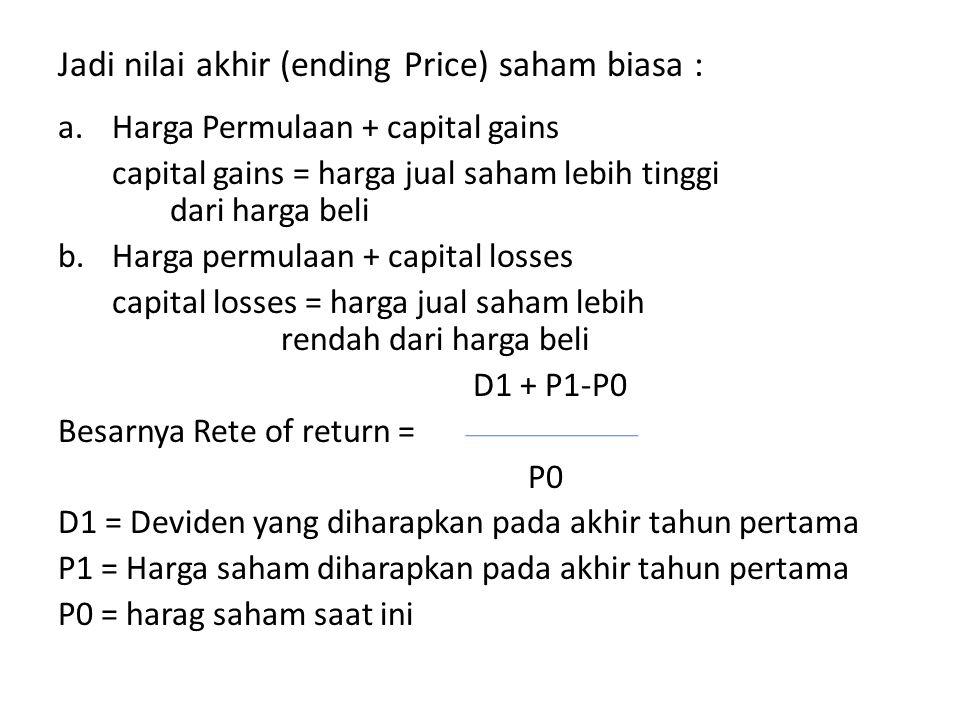 Jadi nilai akhir (ending Price) saham biasa :