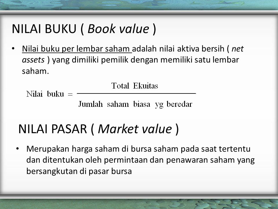 NILAI BUKU ( Book value )