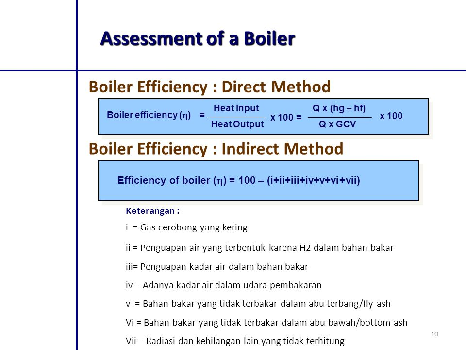 Assessment of a Boiler Boiler Efficiency : Direct Method