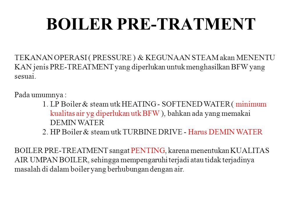 BOILER PRE-TRATMENT TEKANAN OPERASI ( PRESSURE ) & KEGUNAAN STEAM akan MENENTU. KAN jenis PRE-TREATMENT yang diperlukan untuk menghasilkan BFW yang.