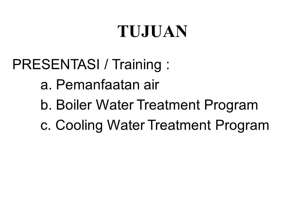 TUJUAN PRESENTASI / Training : a. Pemanfaatan air