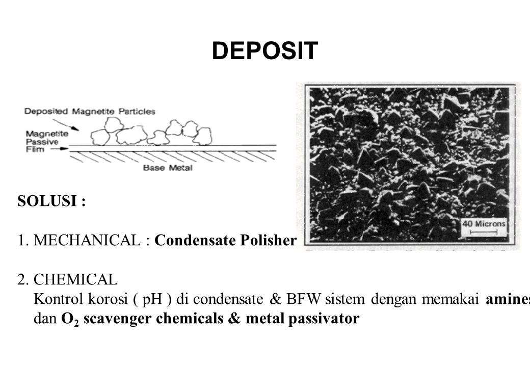 DEPOSIT SOLUSI : 1. MECHANICAL : Condensate Polisher 2. CHEMICAL
