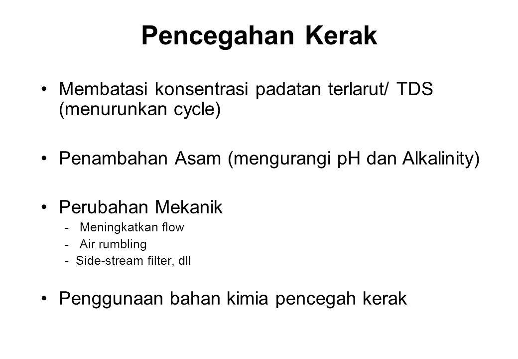 Pencegahan Kerak Membatasi konsentrasi padatan terlarut/ TDS (menurunkan cycle) Penambahan Asam (mengurangi pH dan Alkalinity)