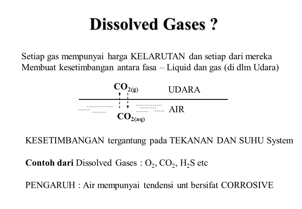 Dissolved Gases Setiap gas mempunyai harga KELARUTAN dan setiap dari mereka. Membuat kesetimbangan antara fasa – Liquid dan gas (di dlm Udara)
