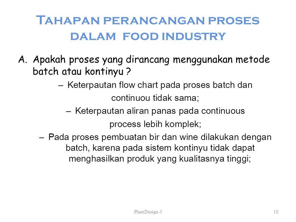 Tahapan perancangan proses dalam food industry