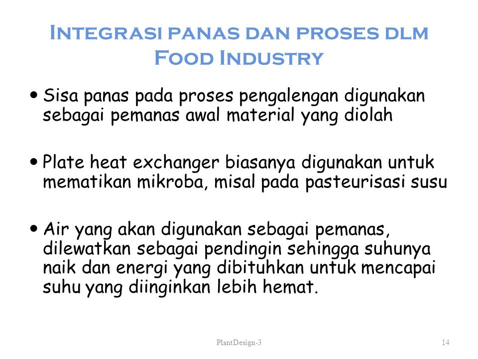 Integrasi panas dan proses dlm Food Industry
