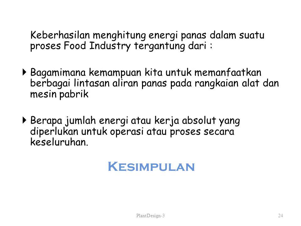 Keberhasilan menghitung energi panas dalam suatu proses Food Industry tergantung dari :