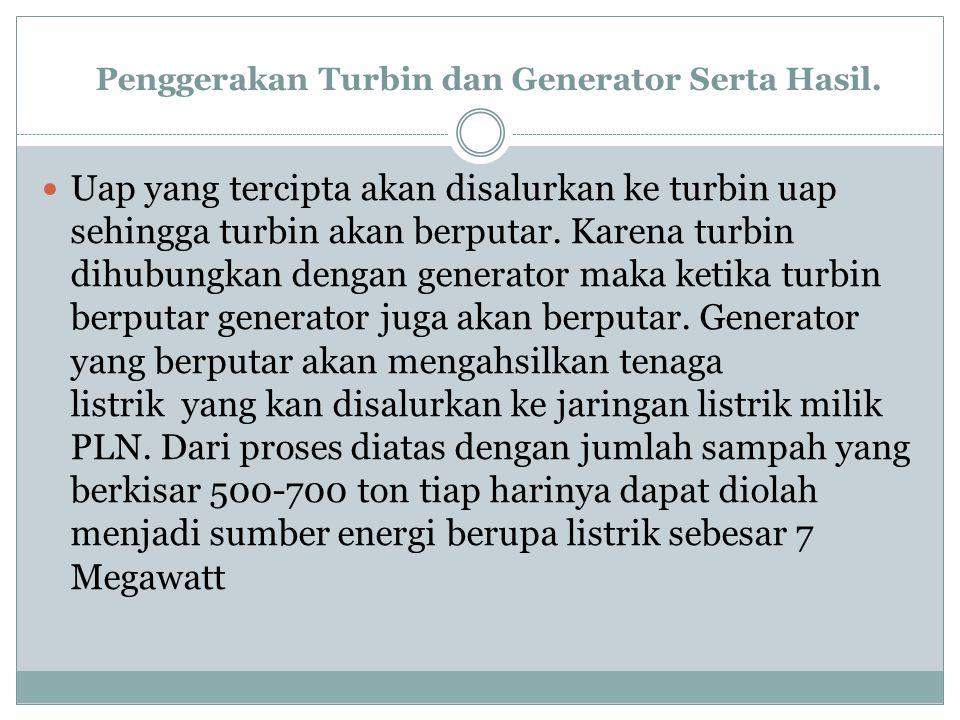 Penggerakan Turbin dan Generator Serta Hasil.