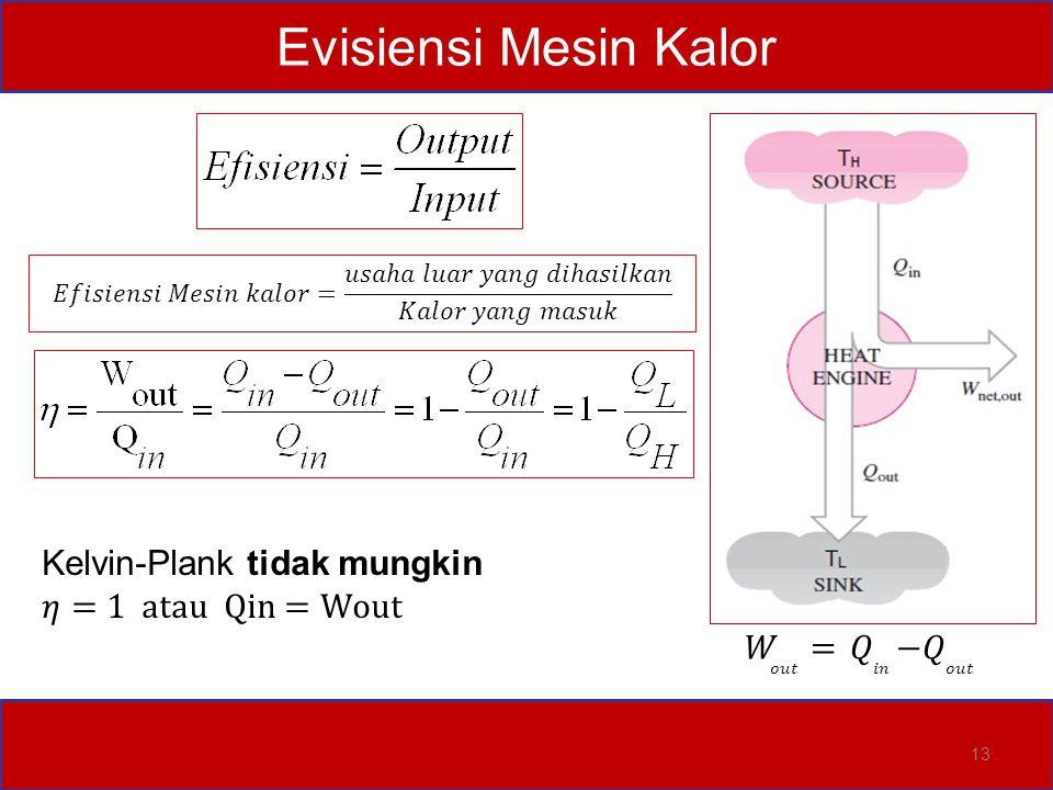 Evisiensi Mesin Kalor Kelvin-Plank tidak mungkin 𝜂=1 atau Qin =Wout