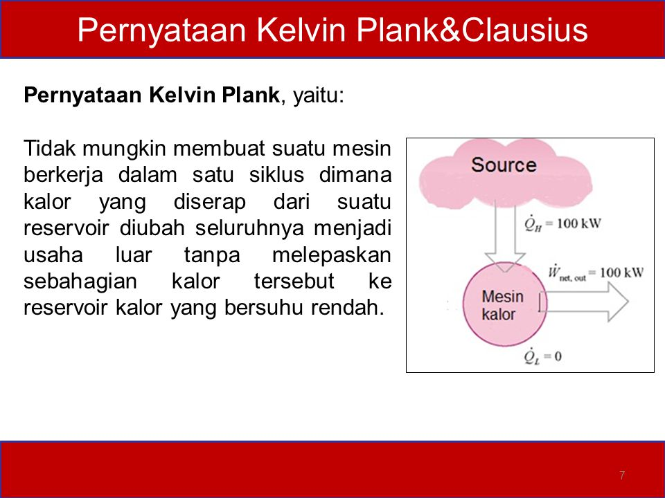 Pernyataan Kelvin Plank&Clausius