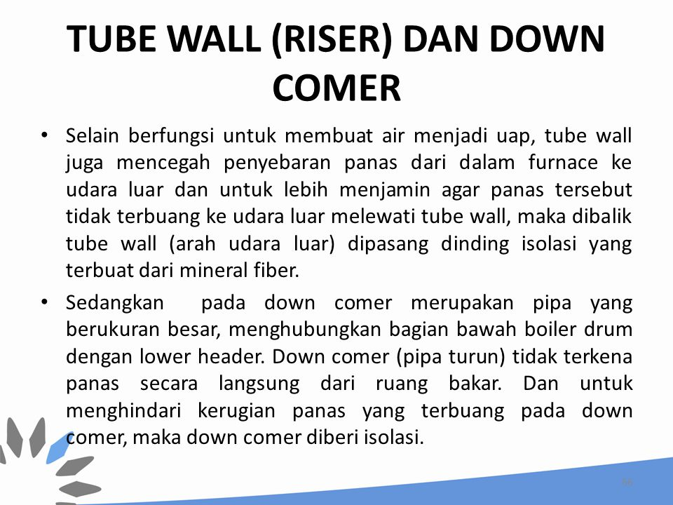 TUBE WALL (RISER) DAN DOWN COMER