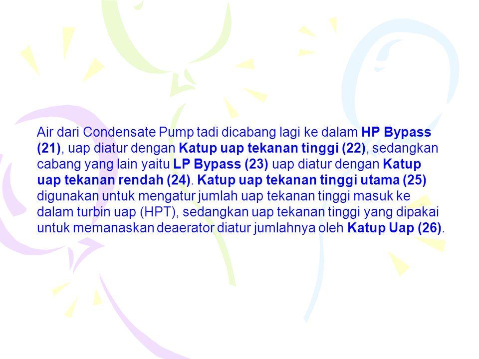 Air dari Condensate Pump tadi dicabang lagi ke dalam HP Bypass (21), uap diatur dengan Katup uap tekanan tinggi (22), sedangkan cabang yang lain yaitu LP Bypass (23) uap diatur dengan Katup uap tekanan rendah (24).