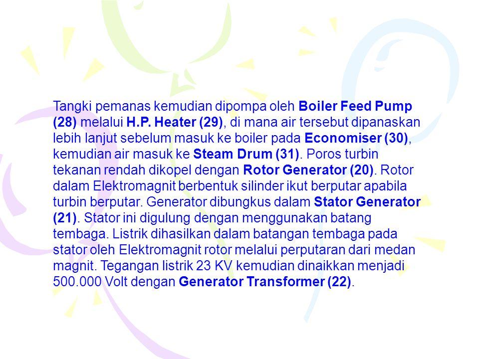 Tangki pemanas kemudian dipompa oleh Boiler Feed Pump (28) melalui H.P.