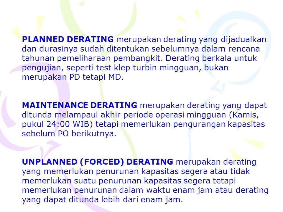PLANNED DERATING merupakan derating yang dijadualkan dan durasinya sudah ditentukan sebelumnya dalam rencana tahunan pemeliharaan pembangkit. Derating berkala untuk pengujian, seperti test klep turbin mingguan, bukan merupakan PD tetapi MD.