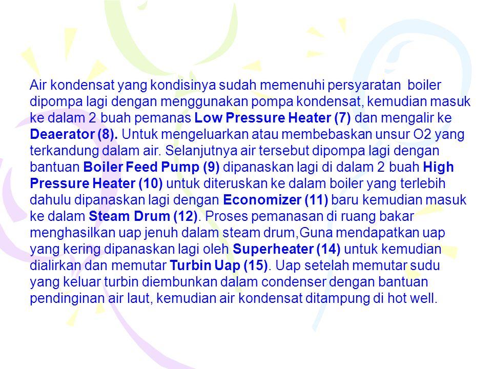 Air kondensat yang kondisinya sudah memenuhi persyaratan boiler dipompa lagi dengan menggunakan pompa kondensat, kemudian masuk ke dalam 2 buah pemanas Low Pressure Heater (7) dan mengalir ke Deaerator (8).