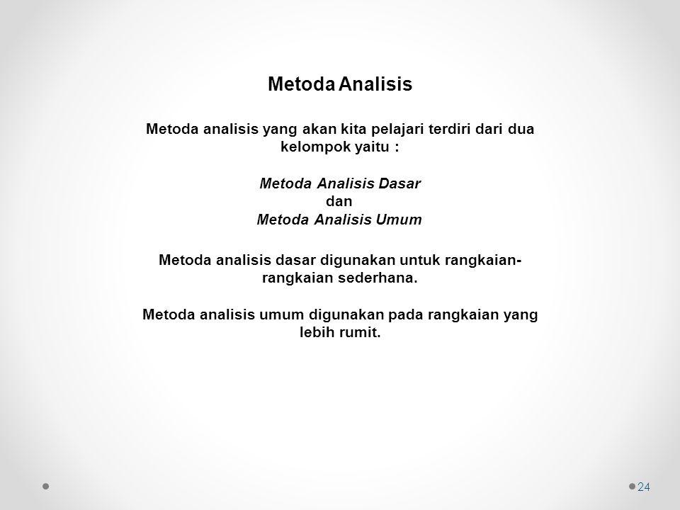 Metoda Analisis Metoda analisis yang akan kita pelajari terdiri dari dua kelompok yaitu : Metoda Analisis Dasar.