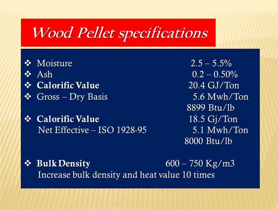 Wood Pellet specifications