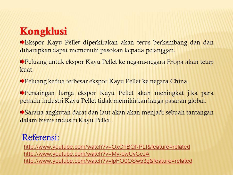 Kongklusi Ekspor Kayu Pellet diperkirakan akan terus berkembang dan dan diharapkan dapat memenuhi pasokan kepada pelanggan.