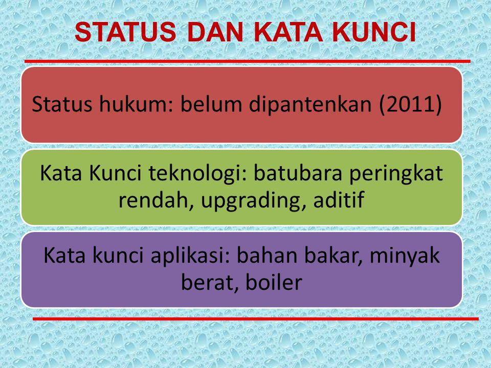 STATUS DAN KATA KUNCI Status hukum: belum dipantenkan (2011)