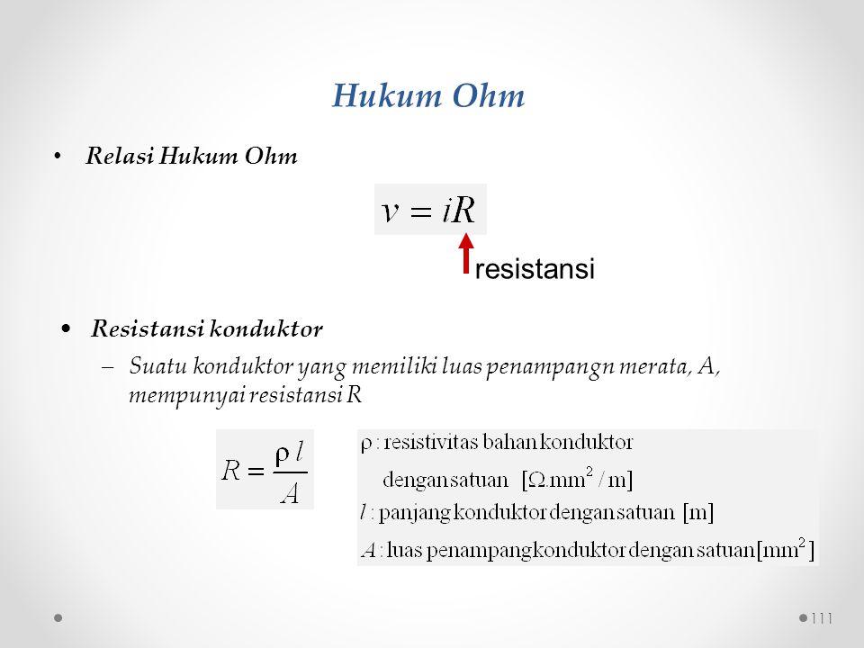 Hukum Ohm resistansi Relasi Hukum Ohm Resistansi konduktor