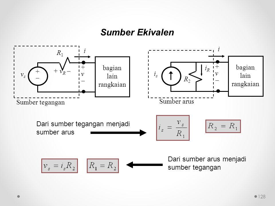 Sumber Ekivalen i i R1 bagian iR bagian + + + vR  lain v lain v vs is