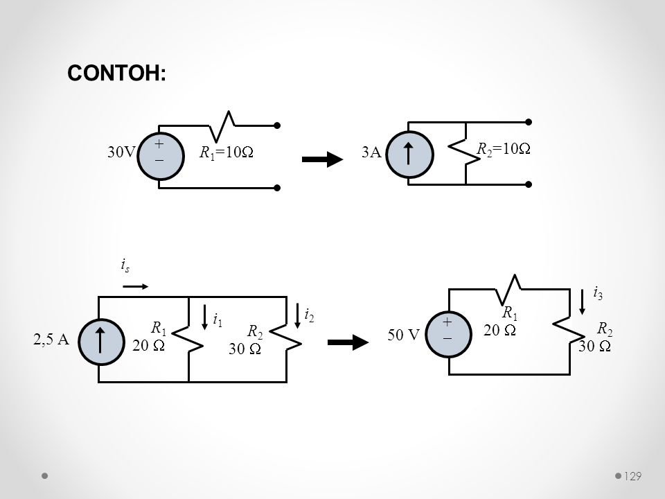 CONTOH: 30V +  R1=10 3A R2=10 R1 20  2,5 A R2 30  is i1 i2 + 
