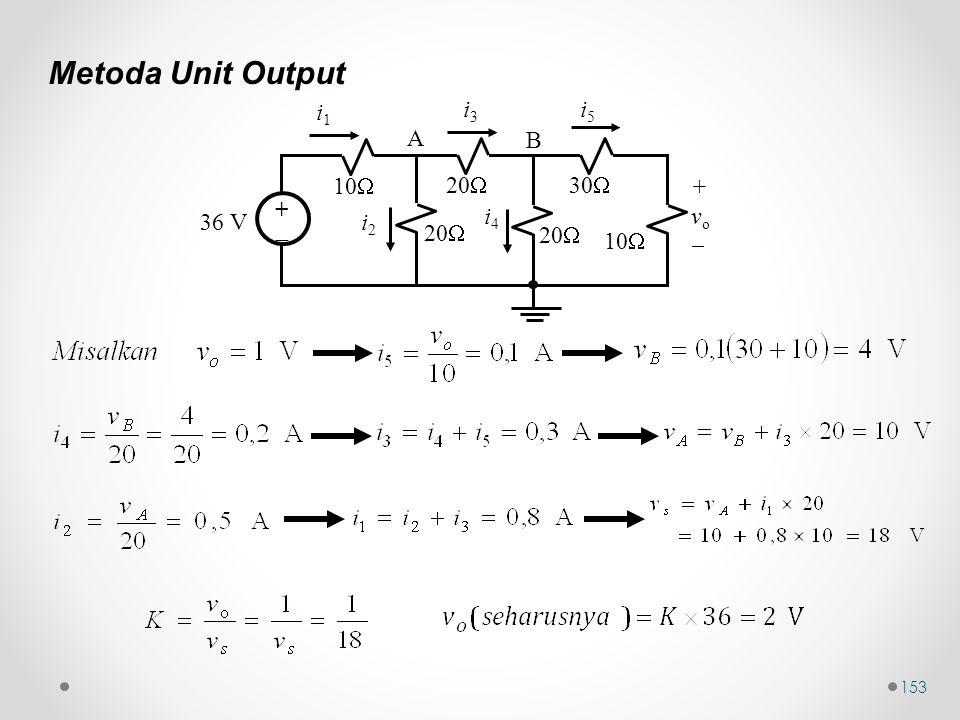 Metoda Unit Output 10 36 V +  20 30 i1 i3 i5 i2 i4 vo A B