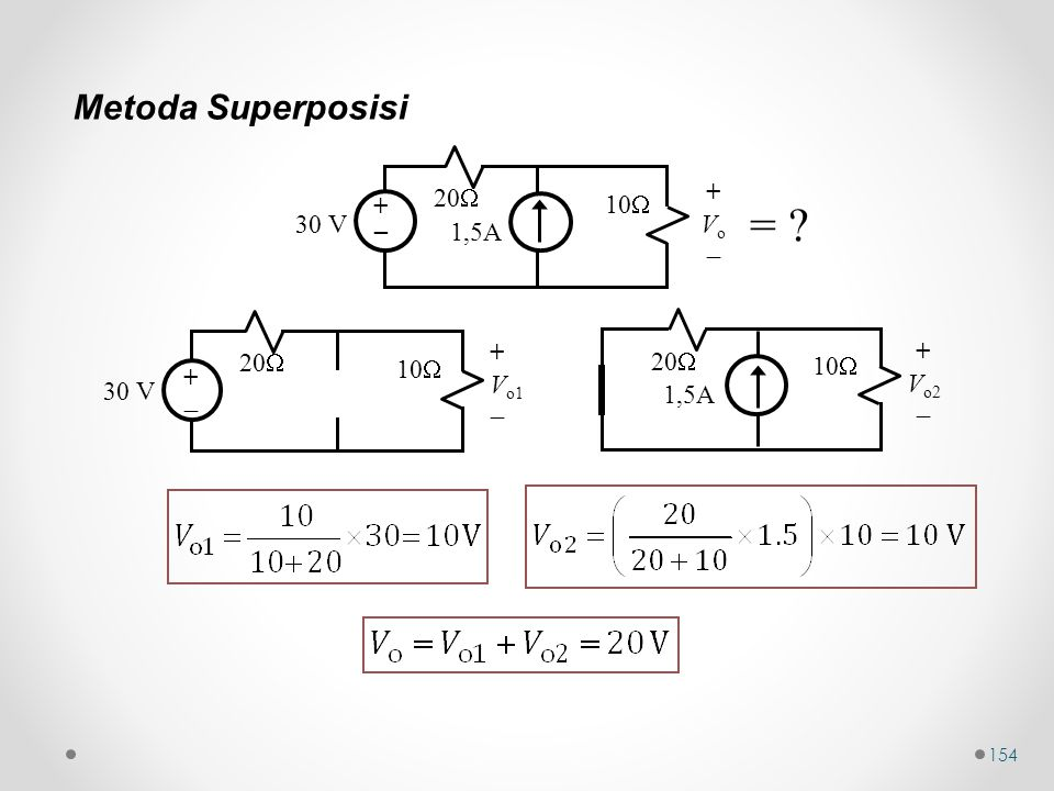 = Metoda Superposisi 20 + 10 Vo _ 30 V  1,5A + 20 20 10 Vo1