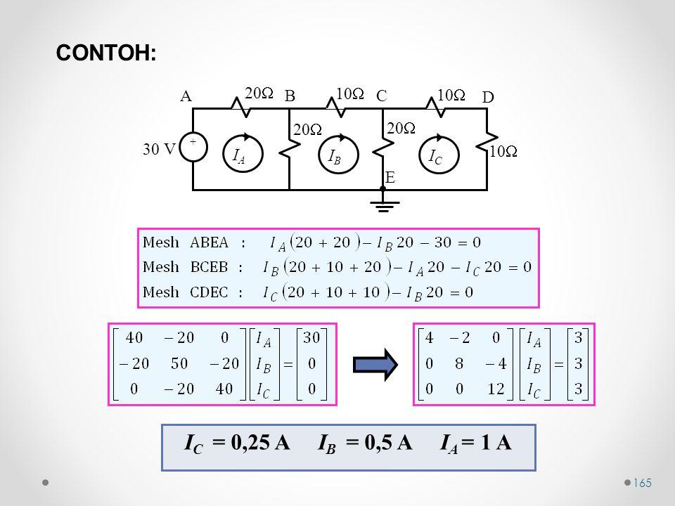 CONTOH: IC = 0,25 A IB = 0,5 A IA = 1 A 10 30 V 20 A B C D E +  IC
