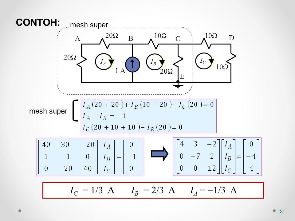 CONTOH: IC = 1/3 A IB = 2/3 A IA = 1/3 A mesh super 10 1 A 20 A B C