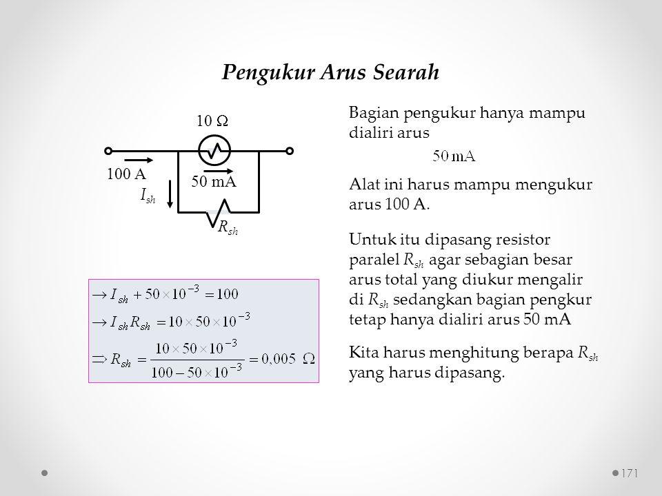 Pengukur Arus Searah Bagian pengukur hanya mampu dialiri arus 10 