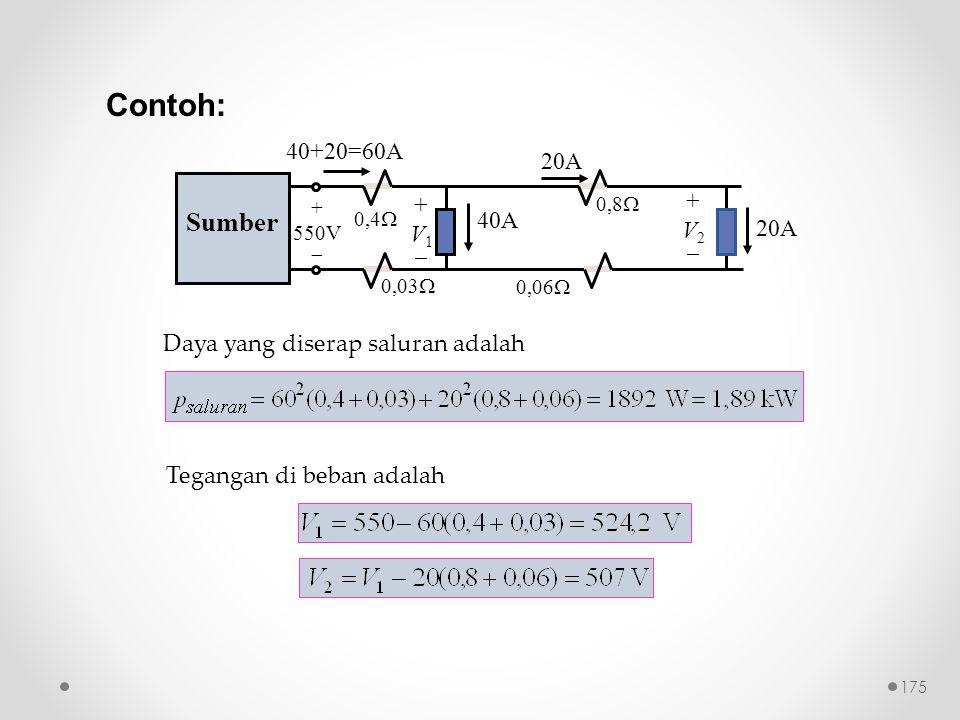 Contoh: Sumber 40+20=60A 20A + + V2 V1 40A  20A 