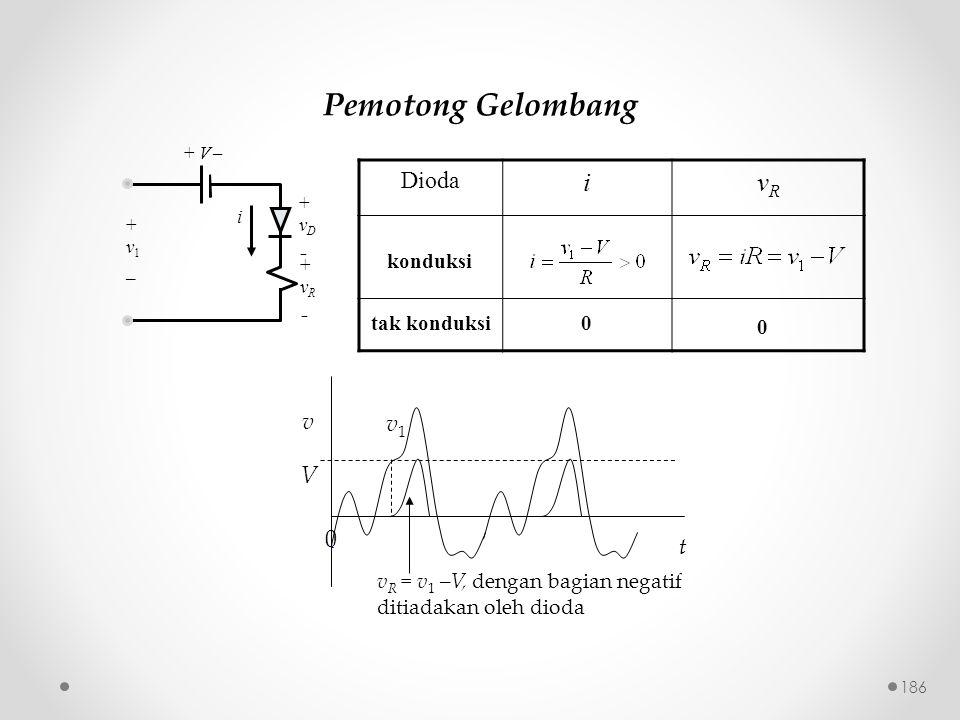 Pemotong Gelombang i vR Dioda v v1 V t konduksi tak konduksi