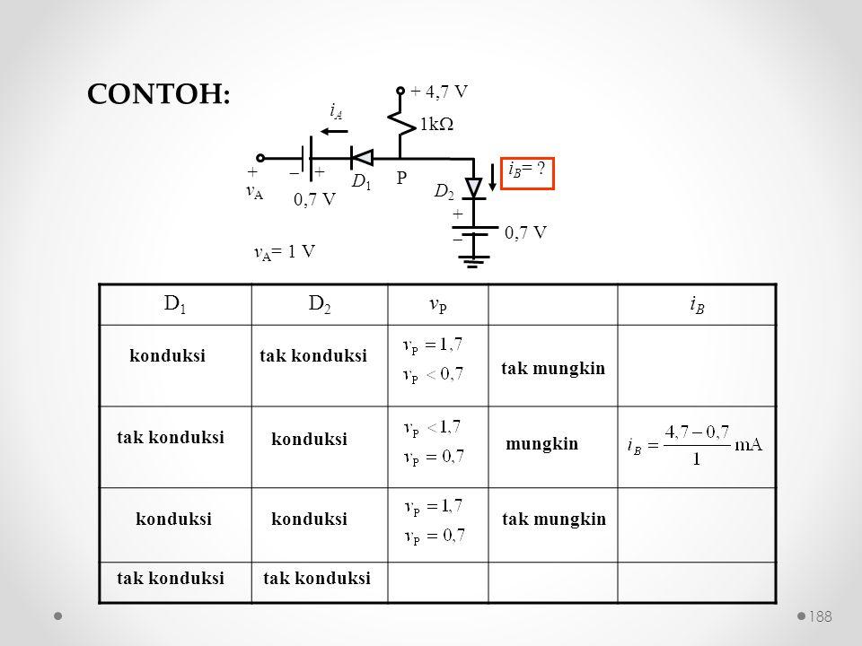CONTOH: D1 D2 vP iB 0,7 V iB= + 4,7 V + vA iA P 1k   + D1 D2