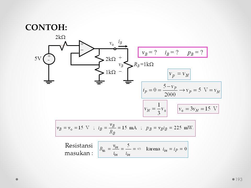 CONTOH: vB = iB = pB = Resistansi masukan : 2k iB vo +  5V vB