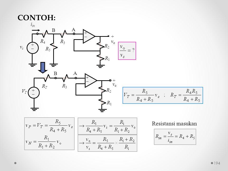 CONTOH: Resistansi masukan R2 +  vo R1 R3 vs A iin R4 R5 B R2 +  vo