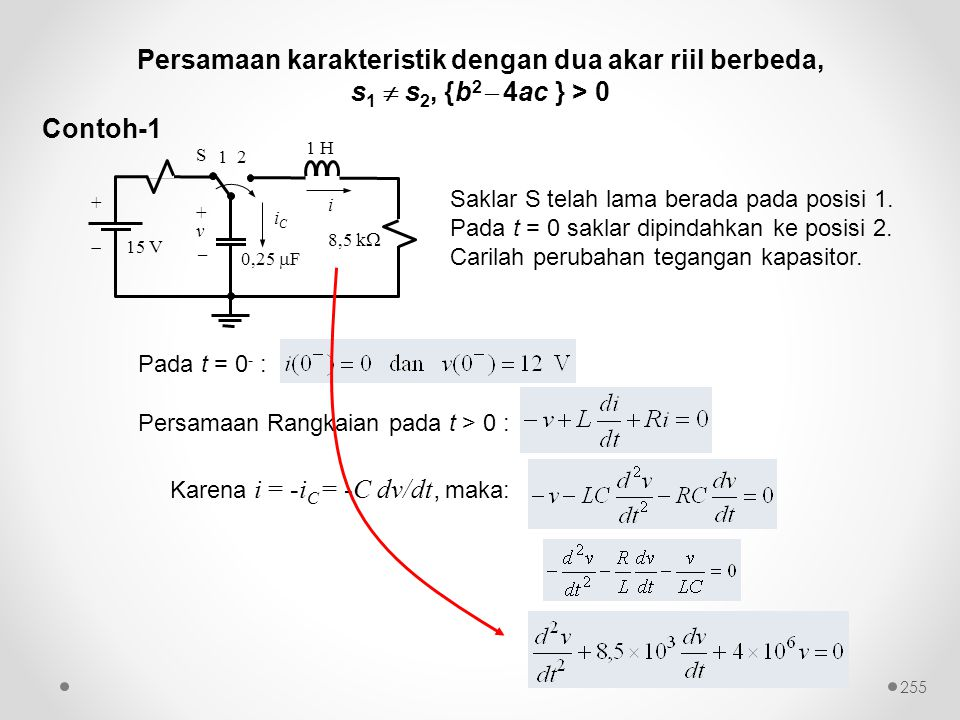 Persamaan karakteristik dengan dua akar riil berbeda,