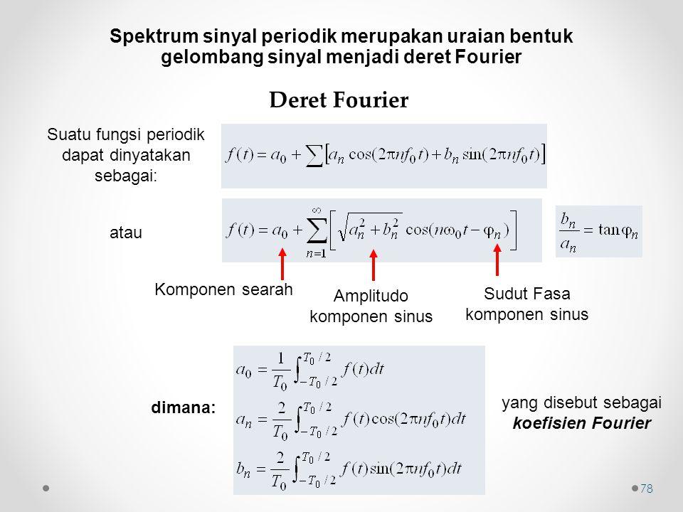 Spektrum sinyal periodik merupakan uraian bentuk gelombang sinyal menjadi deret Fourier