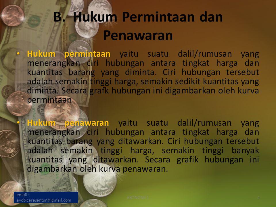 B. Hukum Permintaan dan Penawaran