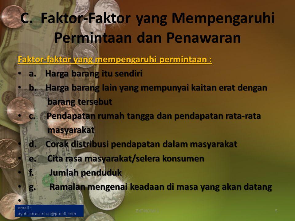C. Faktor-Faktor yang Mempengaruhi Permintaan dan Penawaran