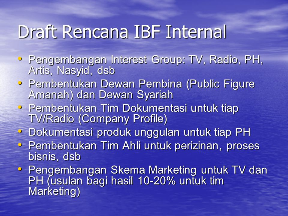 Draft Rencana IBF Internal