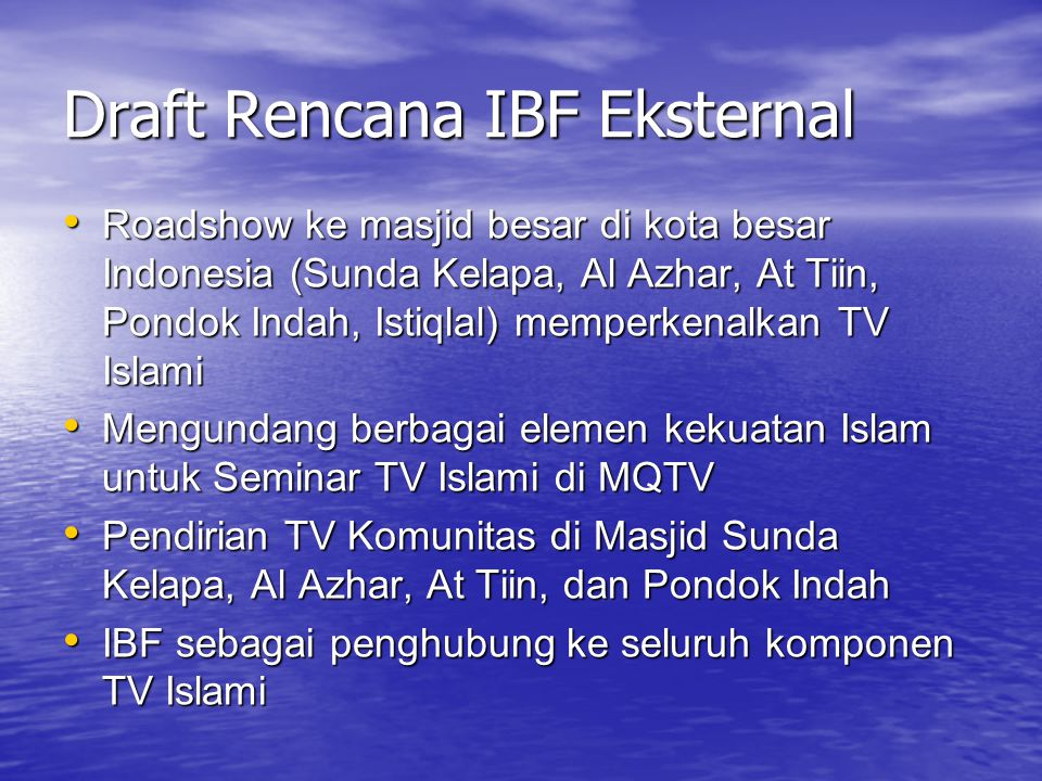 Draft Rencana IBF Eksternal