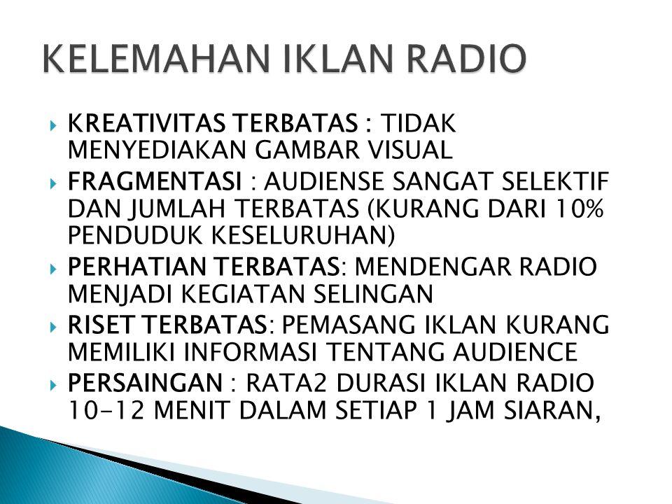 KELEMAHAN IKLAN RADIO KREATIVITAS TERBATAS : TIDAK MENYEDIAKAN GAMBAR VISUAL.