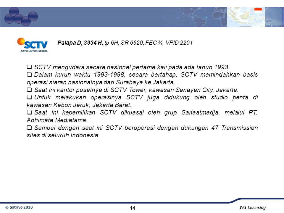 SCTV mengudara secara nasional pertama kali pada ada tahun 1993.